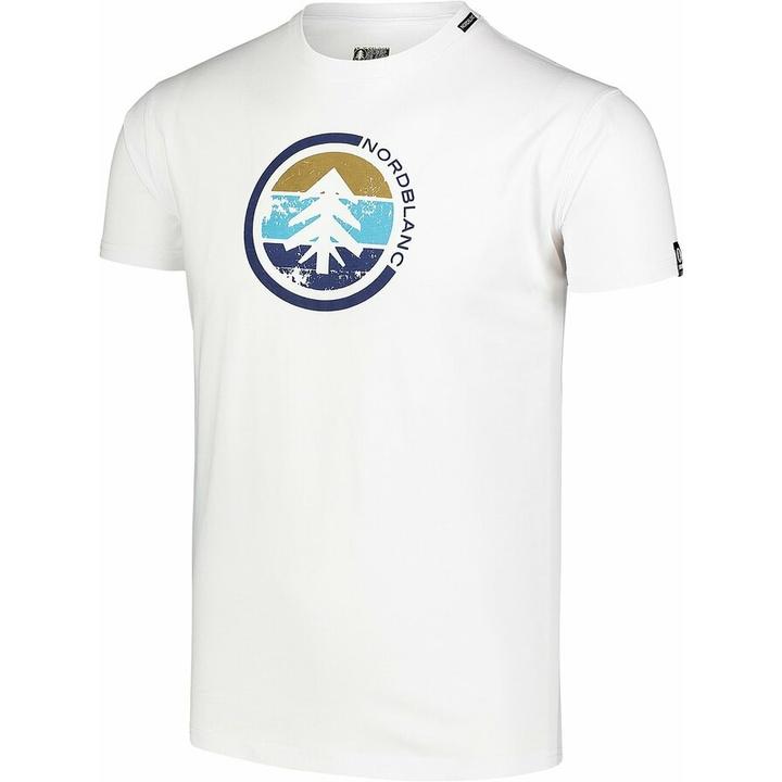 Hemd aus Baumwolle für Männer Nordblanc TRICOLOR Weiß NBSMT7397_BLA