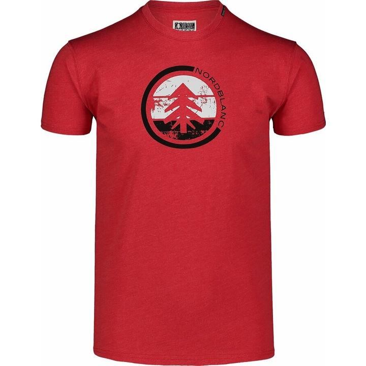 Hemd aus Baumwolle für Männer Nordblanc TRICOLOR rot NBSMT7397_TCV