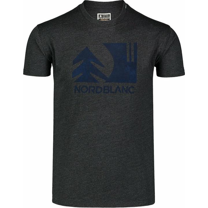 Hemd aus Baumwolle für Männer Nordblanc TREETOP schwarz NBSMT7399_CEM