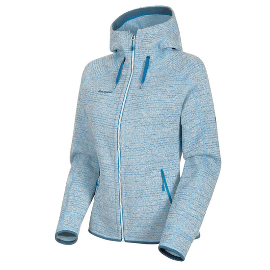 Damen Sweatshirt Mammut Arctic ML Hooded Jacket Women brigh white saphir Melange 00367 (1014-15703)