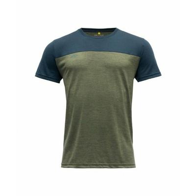 Herren Woll-T-Shirt mit kurzen Ärmeln Devold Keenrang GO 180 213 B 404A grün