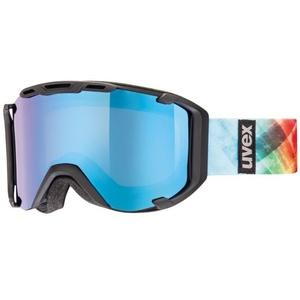 Ski Brille Uvex SNOWSTRIKE PM, black Mat double linsen- / polavision litemirror blau / clear (2226), Uvex