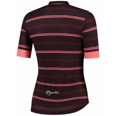 Damen Radsport Dress Rogelli STRIPE mit kurz Ärmeln, burgunder-koralle 010.149, Rogelli