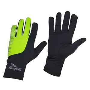 Herren Lauf Winter Handschuhe Rogelli Touch, 890.002. schwarz-reflektierende yellow, Rogelli