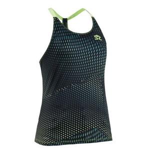Damen Tank Top/Shirt Salming Breeze Tank Women Deep Teal AOP / Scharf Green, Salming