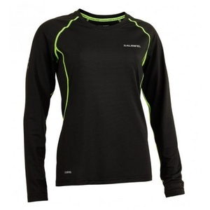 Damen T-Shirt Salming Balance LS Tee Women Black / scharf Lime, Salming