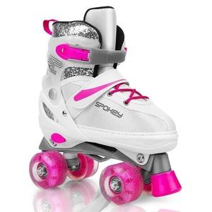 Spokey BUFF Trekking Skates geregelt, ABEC 5, weiß-rosa, Grösse. 39-42, Spokey