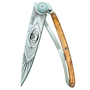 Taschen- Messer Deejo 1CB052 Tattoo 37g, Olive holz, Vision, Deejo