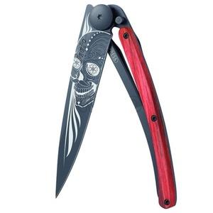 Taschen- Messer Deejo 1GB143 Black Tattoo 37g, biker, red buche, Latino Skull, Deejo
