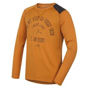 Herren Merino T-Shirt Husky Wolf braun-orange, Husky