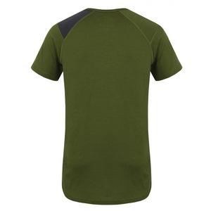 Herren Merino T-Shirt Husky Dog Khaki, Husky