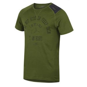 Herren Merino T-Shirt Husky Wolf Khaki, Husky