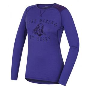 Damen Merino T-Shirt Husky Puppy šedofialová, Husky