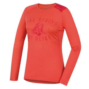 Damen Merino T-Shirt Husky Puppy peach, Husky