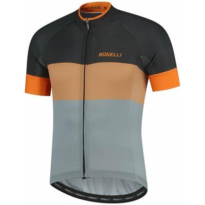 Aerodynamisch wettbewerbsfähig Trikot Rogelli BOOST mit kurz Ärmeln, grau-schwarz-orange 001.119, Rogelli