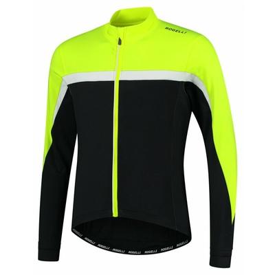 Männer warm fahrradtrikot Rogelli Kurs schwarz-reflektierend Gelb weiss ROG351004, Rogelli