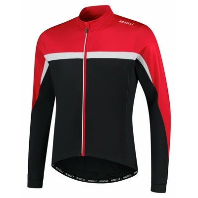 Männer warm fahrradtrikot Rogelli Kurs schwarz-rot-weiß ROG351005, Rogelli