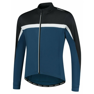 Männer warm fahrradtrikot Rogelli Kurs blau-schwarz-weiß ROG351006, Rogelli