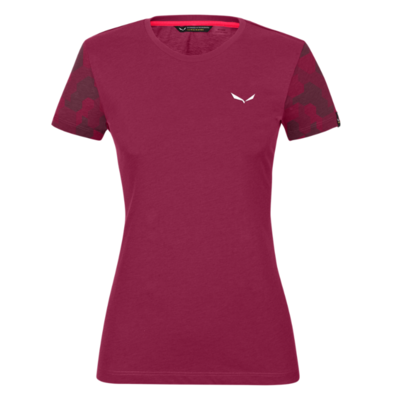 Damen-T-Shirt Salewa Camou Ärmel Trocken Rhodorot melange 28260-6368