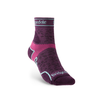 Socken Bridgedale TRAIL RUN UL T2 MS 3/4 CREW DAMEN Damson/195, bridgedale