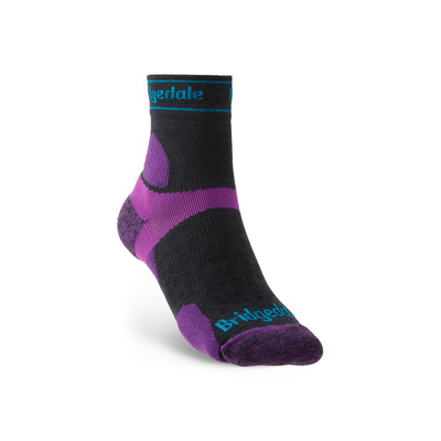 Socken Bridgedale TRAIL RUN UL T2 MS 3/4 CREW DAMEN Charcoal/Purple/260, bridgedale