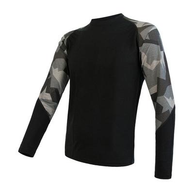 Herren T-Shirt Sensor Merino Beeindrucken schwarz / camo 19200020, Sensor