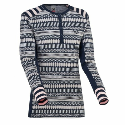 Damen Wolle Langarm-Shirt Kari Traa Åkle LS blau, Kari Traa