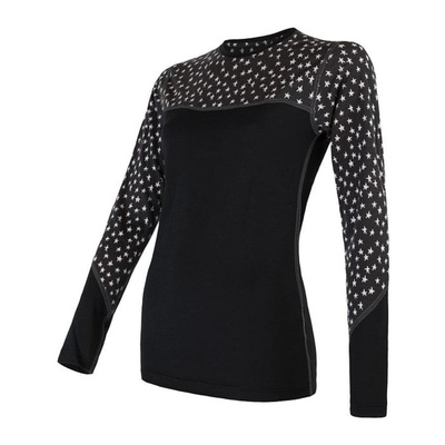 Damen T-Shirt Sensor Merino Beeindrucken schwarze sterne 20200011, Sensor