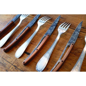 Deejo Set 6 Steak Messer, Titanium Oberfläche Klingen, olive Holz, design 'Toile de Jouy' 2FB011, Deejo