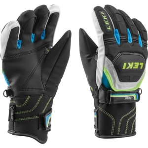 Handschuhe LEKI Worldcup Race Coach Flex S GTX Junior black-white-cyan-yellow 634-80131, Leki