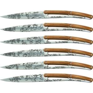 Deejo Set 6 stealpvácj Messer, glänzend Oberfläche, olive Holz, design 'Toile de Jouy' 2AB011, Deejo