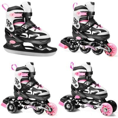 Skates Spokey QUATUTRO 4IN1 schwarz und pink, geregelt, Spokey