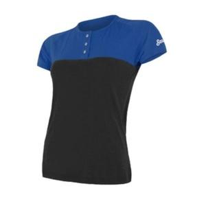 Damen T-Shirt Sensor MERINO AIR PT Kurzarm mit Knöpfe blau/schwarz 18100010, Sensor