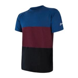 Herren T-Shirt Sensor MERINO AIR PT schwarz / blau / weinrot 18200013, Sensor