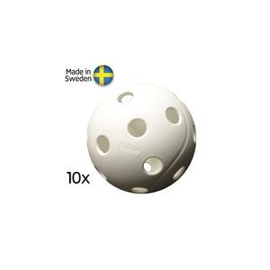 Set Floorball Bälle Salming X3M Campus Ball, 10-pack, White, X3M